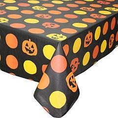 Celebrate Halloween Together Vinyl Pumpkin Tablecloth