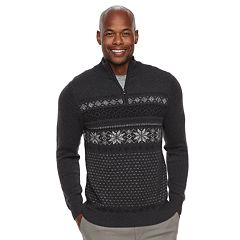 Men's Croft & Barrow® Classic-Fit Holiday Fairisle Quarter-Zip Sweater