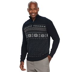 Men's Croft & Barrow® Classic-Fit Holiday Fairisle Quarter-Zip Sweater