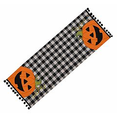 Celebrate Halloween Together Gingham Pumpkin Table Runner - 36'