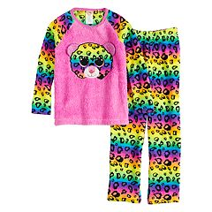 Girls 4-12 Ty Beanie Boos Rainbow Leopard-Print Fleece Top & Bottoms Pajama Set