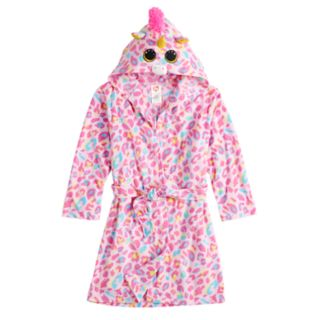 Girls 4-12 Ty Beanie Boo Unicorn & Leopard-Print Fleece Robe