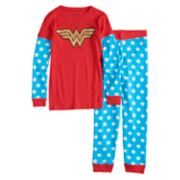 Girls 4-10 DC Comics Wonder Woman Top & Bottoms Pajama Set