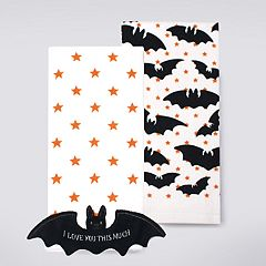 Celebrate Halloween Together Bat Patch Kitchen Towel 2-pack
