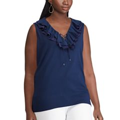 Plus Size Chaps Ruffle Lace-Up Tank