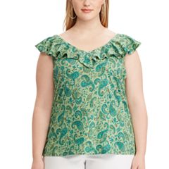 Plus Size Chaps  Print Ruffled Sleeveless Top
