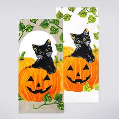 Celebrate Halloween Together Black Cat Pumpkin Kitchen Towel 2-pack