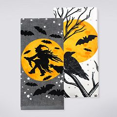 Celebrate Halloween Together Witch Silhouette Kitchen Towel 2-pack