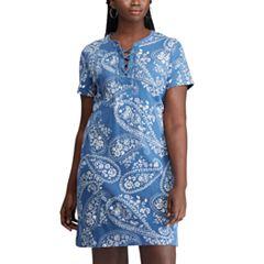 Plus Size Chaps Lace-Up Dress