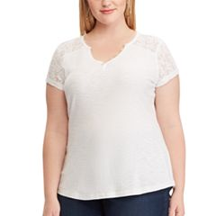 Plus Size Chaps Lace Sleeve Henley Tee