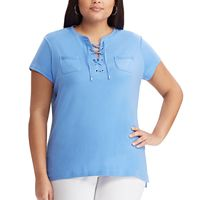 Plus Size Chaps Lace-Up Top