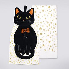 Celebrate Halloween Together Black Cat Tie-Top Kitchen Towel 2-pack