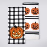 Celebrate Halloween Together Gingham Pumpkin Kitchen Towel 2-pack
