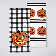 Celebrate Halloween Together Gingham Pumpkin Kitchen Towel 2-pack