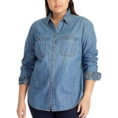 Plus Size Chaps Button Front Chambray Top