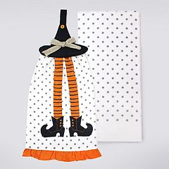 Celebrate Halloween Together Witch Hat Tie-Top Kitchen Towel 2-pack
