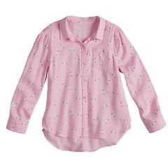 Girls 4-10 Jumping Beans® Kitty Cat Button-Up Shirt