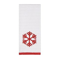St. Nicholas Square® Farmhouse Christmas Stripe Snowflake Hand Towel