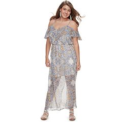 Juniors' Plus Size Lily Rose Cold Shoulder Maxi Dress