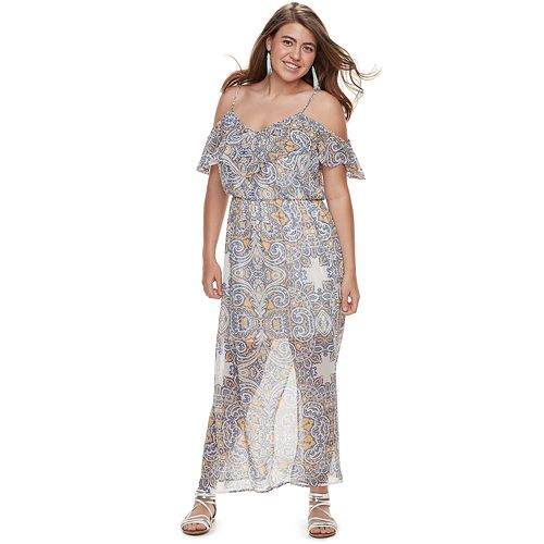 Juniors\' Plus Size Lily Rose Cold Shoulder Maxi Dress