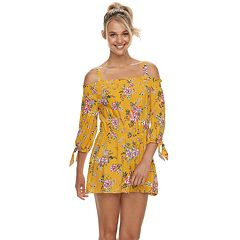 Juniors' AS U WISH Tie-Sleeve Off-Shoulder Romper