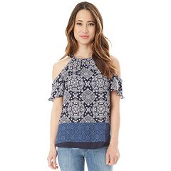 Juniors' IZ Byer Printed Ruffled Cold-Shoulder Top