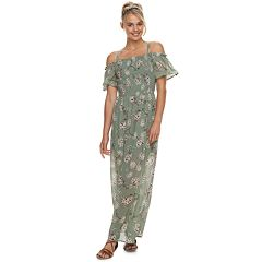 Juniors' Lily Rose Off-The-Shoulder Maxi Dress