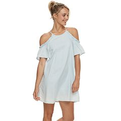 Juniors' AS U WISH Ruffle Cold Shoulder Dress