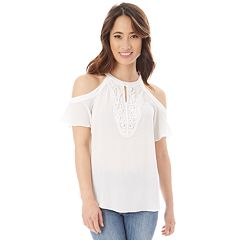 Juniors' IZ Byer High Neck Cold-Shoulder Top