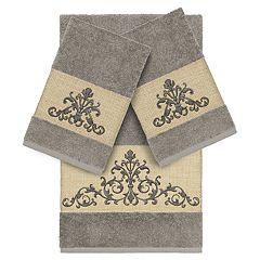 Linum Home Textiles 3-piece Scarlet Embellished Bath Towel Set