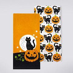 Celebrate Halloween Together Black Cat Kitchen Towel 2-pack