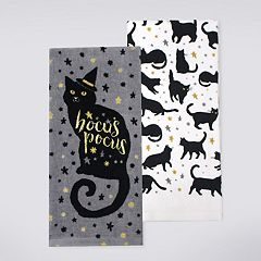 Celebrate Halloween Together 'Hocus Pocus' Black Cat Kitchen Towel 2-pack
