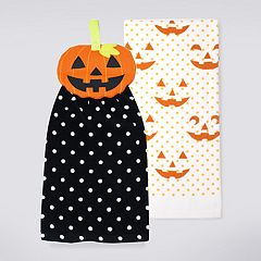 Celebrate Halloween Together Pumpkin Tie-Top Kitchen Towel  2-pack