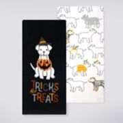 "Celebrate Halloween Together ""Tricks for Treats"" Halloween Dog Kitchen Towel 2-pack"