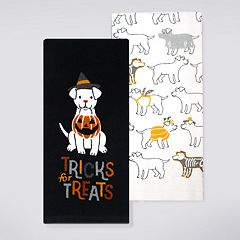 Celebrate Halloween Together 'Tricks for Treats' Halloween Dog Kitchen Towel 2-pack
