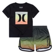 Toddler Boy Hurley Ombre Logo Graphic Tee & Abstract Shorts Set