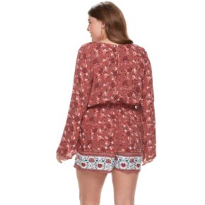 Juniors' Plus Size Mudd® Lace Inset Bell Sleeve Romper