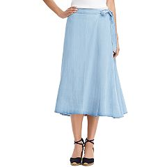 Women's Chaps Chambray A-Line Midi Skirt
