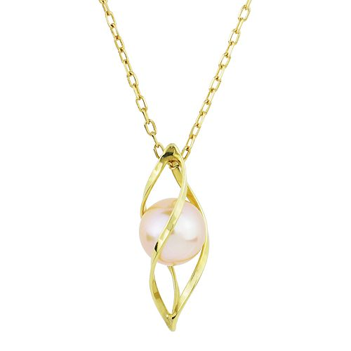 14k Gold Pink Freshwater Cultured Pearl Cage Pendant Necklace
