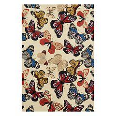 Nourison Fantasy Butterfly Beige Area Rug