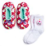 Girls 4-16 Fuzzy Babba Slippers & Socks Set