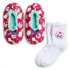 Girls 4-16 Fuzzy Babba Slippers & Socks Set