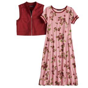 Girls 7-16 My Michelle Floral Print Varsity Dress & Vest Set