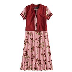 Girls 7-16 My Michelle Floral Print Varsity Dress & Vest Set
