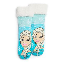 Disney's Frozen Elsa Girls 4-16 Cozy Slipper Socks