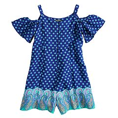 Girls 7-16 My Michelle Border Print Cold Shoulder Romper