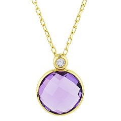 14k Gold Amethyst Coin Pendant Necklace