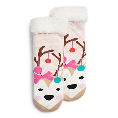 Girls 4-16 Holiday Reindeer Cozy Slipper Socks