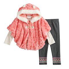 Toddler Girl Little Lass Graphic Tee, Hooded Plush Vest & Fairisle Jeggings Set