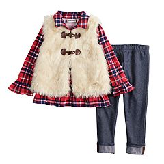Toddler Girl Little Lass Plaid Sequin Henley, Faux-Fur Vest & Jeggings Set
